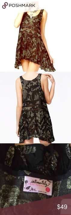 Free People Slip NWOT Pristine new condition never worn, never washed !!   Its so cute ,  Sadly it just doesn't fit me.    Free People XS lace throughout and ruffled hem longer on sides! Free People Dresses Mini