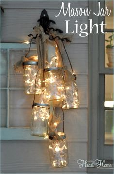 DIY Mason Jar Lights can put the right spin on decorating with lights! I mean really, mason jars! Mason Jar Projects, Mason Jar Crafts, Mason Jar Diy, Mason Jar Lamp, Diy Mason Jar Lights, Mason Jar Lighting, Mason Jar Chandelier, Christmas Crafts, Christmas Decorations