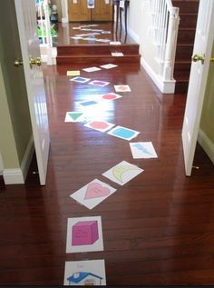 Candyland-FREE printable giant shape board game with an action for each space you land on! Great for when you're stuck inside all day! - WHERE was this for Em's Candyland Party? Kids Crafts, Craft Activities For Kids, Toddler Activities, Projects For Kids, Games For Kids, Summer Activities, Kids Fun, Indoor Activities, Shape Games