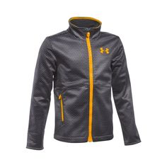 Under Armour Kids Boy's UA CGI Softershell Jacket (Big Kids) Graphite/Graphite/Steeltown Gold Outerwear MD (10-12 Big Kids). Made in USA or Imported.