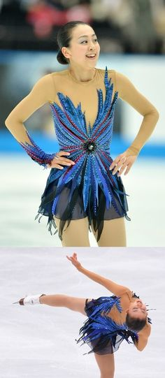 Mao Asada's costume for her long program to Rachmaninov's Piano Concerto No. 2 at the 2013 Japan Open. Sources: 1 and 2.