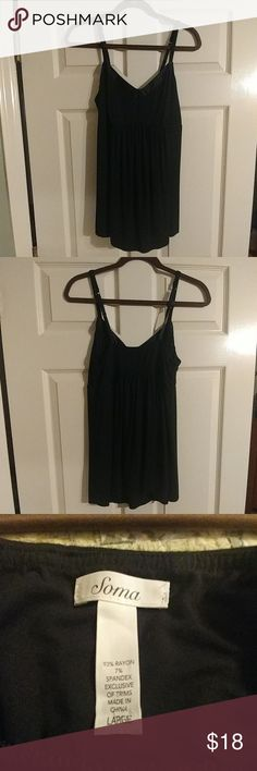 """Soma Night tank Only worn once.  EUC.  Black night tank with adjustable straps.  Flat bust measures approximately 16"""" before stretch and is length is approximately 26"""".  Very soft! Soma Intimates & Sleepwear Pajamas"""