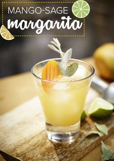 Use tequila to make this margarita with mango and sage. This margarita recipe is perfect for Cinco de Mayo.