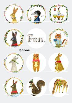 Fun 12 Images/Dessins/collages digitales pour cabochon 30/25/20/18/16/15/14/12/10/8 mm Rond/Carré/Ovale