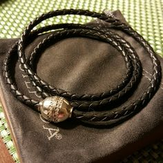 """Silpada Multi-task Wrap Bracelet New!! Genuine leather, Cubic Zirconia and Sterling Silver. Magnetic clasp.. Can also be used as a necklace  28"""" length Silpada  Jewelry Bracelets"""
