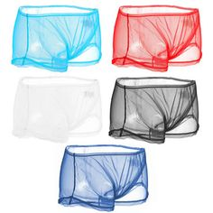 Sexy Transparent Mesh Breathable Mid Waist U Shaped Boxers for Men