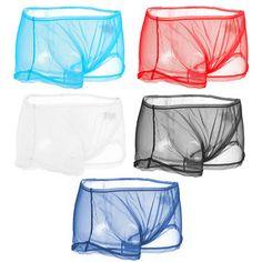 a35c3b5a93c3 Sexy Transparent Mesh Breathable Mid Waist U Shaped Boxers for Men Bikini  Hombre, Male Boxers