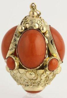 Etruscan Fob Pendant Coral Cabochon 18K Yellow Gold High Karat Ornate Chunky Charm
