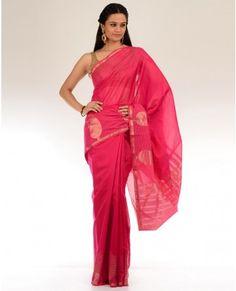Hot Pink Sari with Golden Motifs Embroidered Pallu