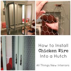 Adding chicken wire to a painted hutch.  Easy peasy?