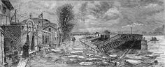 Débordement de la seine - La berge d'Auteuil, janvier 1879