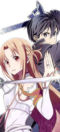 Kirito x Asuna ~ Sword Art Online Online Anime, Online Art, Kirito Asuna, Kirito Sword, Sword Art Online Wallpaper, Sword Art Online Kirito, Sword Art Online Drawing, Art Anime, Kawaii