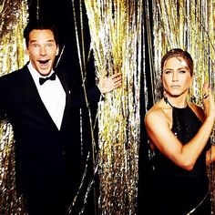 Benedict Cumberbatch and Jennifer Aniston at the 2015 #goldenglobes (Photo by @ellenvonunwerth)  @goldenglobes