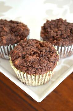 Double Chocolate Protein Muffins: The Guiltless Life I just made these and they are yummy! Chocolate Protein Muffins, Protein Bread, Protein Snacks, Vegan Chocolate, Protein Recipes, Vegan Recipes, High Protein, Protein Power, Flour Recipes