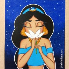 I decided to add a night sky background to my Jasmine drawing 💙 Disney Canvas Paintings, Disney Canvas Art, Small Canvas Art, Mini Canvas Art, Disney Art, Disney Princess Drawings, Disney Drawings, Cartoon Drawings, Art Drawings