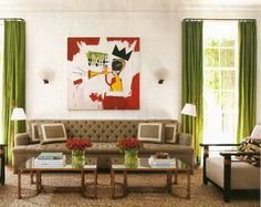 I love how a Basquiat looks over a Chesterfield sofa by Peter Dunham; photo credit: Architectural Digest June 2011
