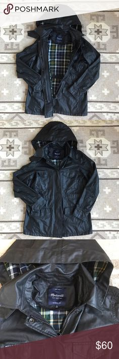 Madewell Coated Roadtrip Jacket Super, super sad re-posh; sadly I need the next size up, so my loss is your gain! This is an amazingly chic, lightweight field coat in waxed cotton. Super flattering with removable hood. Excellent condition. Madewell Jackets & Coats