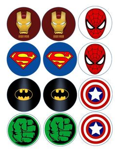 Superhero logo variety edible image/cake, cupcake, cookie, o Avenger Cupcakes, Avenger Cake, Avengers Party Decorations, Birthday Party Decorations, Avengers Birthday, Superhero Birthday Party, Marvel Baby Shower, Superhero Logos, Party Time