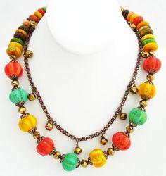 Fun Funky Colorful Necklace Two Strand Ceramic Bead Handmade | DoubleSJewelry - Jewelry on ArtFire