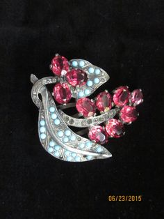 Eisenberg Original Dress/Fur Clip--Silver tone with turquoise and ruby colored…