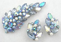 Alice Caviness Blue Rhinestone Leaf Brooch Set - Garden Party Collection Vintage Jewelry