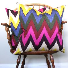 "Schumacher  Martyn Lawrence-Bullard ""Adras Ikat Print"" in Jewel 22"" pillow cover"