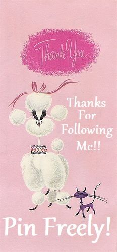 A cute pink vintage, thank you, card. With a white poodle and lilac kitten. Pink Love, Pretty In Pink, Gato Animal, French Poodles, Standard Poodles, Pink Poodle, Illustration, Oui Oui, Vintage Greeting Cards