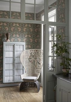 Bohemian chair and William Morris wallpaper William Morris, Morris Wallpapers, House Design, William Morris Wallpaper, Interior Design, House Interior, Home, House, Interior