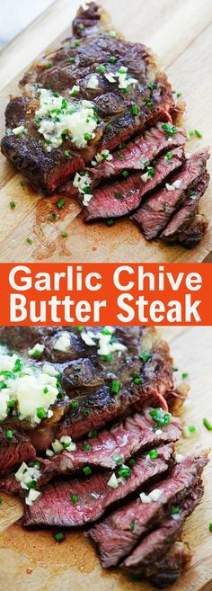 Garlic Chive Butter Steak - the juiciest and most tender steak with garlic chive butter. This steak takes 15 minutes on a grill and dinner is ready | rasamalaysia.com