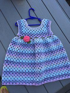 Ravelry: Simple Granny Stitch Dress pattern by Olga Poltava Crochet Baby Dress Free Pattern, Crochet Dress Girl, Crochet Baby Cardigan, Baby Girl Crochet, Crochet Baby Clothes, Baby Kids Clothes, Crochet Patterns, Crochet Dresses, Doll Clothes Patterns