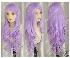 Cosplay Purple Fashion long Curly Women's Wig