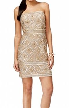 13268e80b32 Adrianna Papell Women s Strapless Embellished Sheath Dress Gold 4