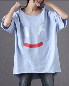 Loose smile hooded t shirt for girls long t shirts with hood short sleeve