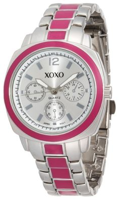 #Cheap #Watch , XOXO Women's XO111 Silver Dial Silver-tone and Pink Enamel Bracelet Watch...$19.99