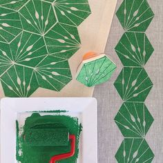 { week four } of the #52weeksofprintmaking challenge 2015 by Yardage Design :: hand carved hexie block printed in green ink