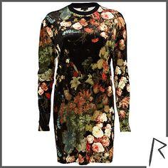 Black Rihanna floral velvet oversized top - tops / t-shirts - rihanna for river island - £50