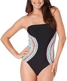 Look at this #zulilyfind! Black & Aqua Stripe Bandeau One-Piece #zulilyfinds