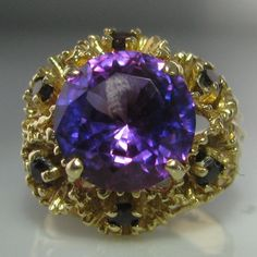 #Amethyst #Cluster #Ring #14k #Gold €1,495 #Engagement #Jewelry #The #Antiques #Room #Galway #Ireland Amethyst Cluster, Cluster Ring, Vintage Diamond, Vintage Rings, Gemstone Colors, Gemstone Rings, Diamond Engagement Rings, Engagement Jewelry, Galway Ireland