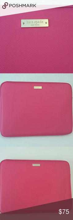 "Kate Spade NWOT Pink Saffiano Laptop Case Kate Spade NWOT Pink Saffiano Empire Laptop Case Sleeve for 13""Apple MacBook, Gold plated Logo Kate Spade Bags Laptop Bags"