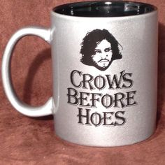 For all of those who are big fans of Game of Thrones, this engraved Crows Before Hoes 11 oz. dishwasher and microwave safe coffee mug is perfect