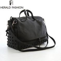 Herald Fashion Designer Women Leather Handbags Large Black Shoulder Bags  Rivet Ladies Tote Bags Motorcycle Bag cc4ef4227be72