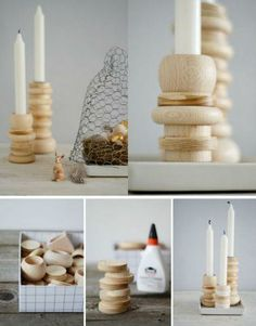 Candlesticks made â??â??from napkins rings
