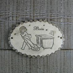 Grand médaillon ovale plaque de porte salle de bain rétro