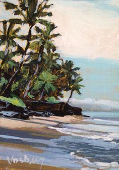 LOT #4 of 2 ACEO PRINTS  FINE ART LANDSCAPE Caribbean Palm Trees Sea Coastal