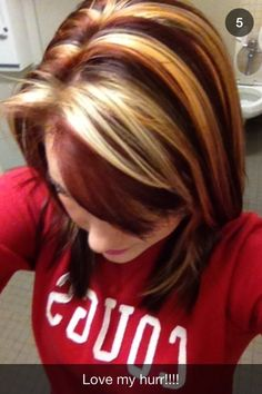 Hair Color Trends  2017/ 2018   Highlights :  Red copper brown copper and bleach chunky highlights