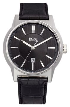 BOSS HUGO BOSS 'Architecture' Round Leather Strap Watch, 44mm available at #Nordstrom