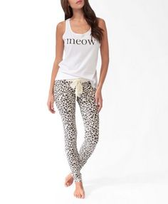 Meow leopard print PJ set. I seriously love those bottoms & would wear them as leggings.