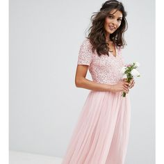 Maya V Neck Midi Dress Dress with Delicate Sequin and Tulle Skirt ($120) ❤ liked on Polyvore featuring dresses, pink, maxi dresses, pink maxi dress, prom dresses, fit and flare cocktail dress and cut out maxi dress