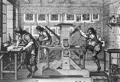 A Printer's Workshop, 1642, Copper engraving by Abraham Bosse, French engraver (b. 1602, Paris, d. 1676, Paris), Museum het Rembrandthuis, Amsterdam.)