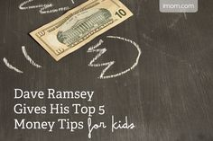 Dave Ramsey Gives His Top 5 Money Tips for Kids - iMom - Finance tips, saving money, budgeting planner Financial Peace, Financial Tips, Money Tips, Money Saving Tips, Dave Ramsey Kids, Allowance For Kids, Total Money Makeover, Budget Planer, Show Me The Money